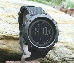 Black Military Style Smart Watch Digital Pedometer Altimeter Barometer Compass