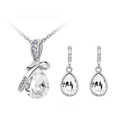 Elegant White Angel Tear with Bow Wedding Jewellery Earrings & Necklace S808