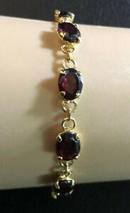 """Garnet Bracelet Tennis Oval Link 8x6mm Natural Gold Pltd 925 Clasp Adjust"""" #4030"""