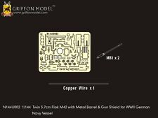 Griffon Model 1/144 Navy Vessel Twin 3.7cm Flak M42 w/Metal Barrel&Gun Shield