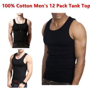 100% Cotton Men's Black 12 Pack Tank Top A-Shirt Wife-Beater Undershirt Ribbed