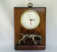 Vintage Labrador Retriever Brass Figure with English Smiths Industries Clock 12""