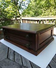 Antique Two Drawer Walnut Spool Cabinet Original Pulls No Advertising