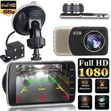"4"" Car Dash Dashboard Video Dual Lens Camera 1080p HD DVR IPS Recorder G-Sensor"
