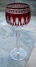 Waterford Clarendon Ruby Red Cut To Clear Wine Hock Stemmed Glass 8""