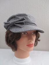 Gray Wool & Polyester Military Style Cap Hat with Bow - Size M/L
