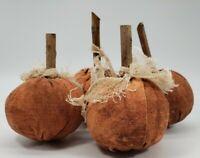Primitive Folk Art Halloween Pumpkins Grungy Set of 4 SMALL Pumpkins
