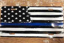 Thin Blue Line Car Tags Back The Blue Support Police Flag License Plate