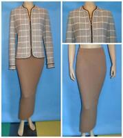 St. John Collection Brown Cream Jacket Skirt L 12 10 2pc Suit Trims Multicolor
