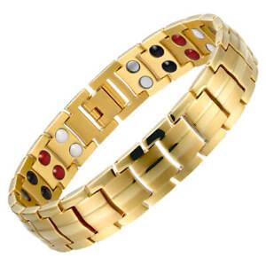 Gold Magnetic Bracelet Arthritis Pain Relief 4 Elements Balance Energy Women Men
