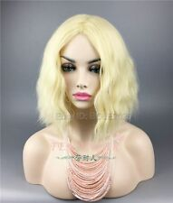 Fashion Woman Medium Gold Wig Heat Resistant Curly Hair Cosplay Party Full Wigs