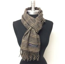 100% CASHMERE SCARF MADE IN SCOTLAND PLAID DESIGN SUPER SOFT UNISEX Camel Black