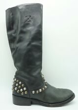ASH Black Leather Ankle Zipper Studded Riding Boots Women's Boots 39 / 8
