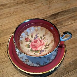 AYNSLEY England BURGUNDY RED TEA CUP & SAUCER with LARGE PINK CABBAGE ROSE