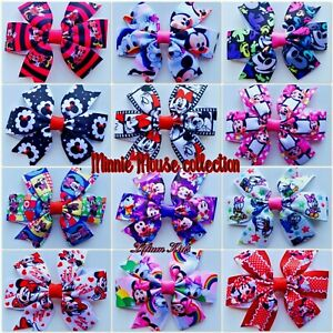 """Minnie Mouse Hair Clips Bows Grips Accessories Daisy Donald 3"""" Bows 30+ Designs"""