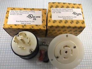 NEMA L21-30 male plug and Flanged outlet, 4 Pole, 5 Wire, 30A 208V, UL listed.