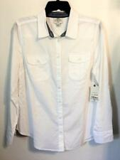 St Johns Bay 100% COTTON BUTTON FRONT SHIRT LONG SLEEVE WHITE CLIP DOT Sz PL NWT