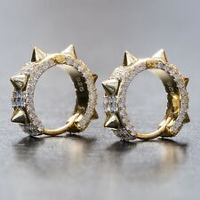 Iced Cz Small Spike Huggie Hoop Earrings Mens 14K Gold 925 Sterling Silver Fully