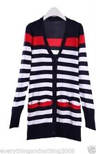 Long Sleeve Acrylic Striped Jumpers & Cardigans for Women