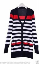 V Neck Long Sleeve Striped Jumpers & Cardigans for Women