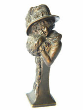 ca.1900s Viennese Bronze WOMAN Bust Sculpture F.Bermann FBW Decorative Figurine