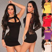 Top Women Mini Dress Ladies Blouse Clubbing Party Lace Back Shirt Size 6 8 10 12