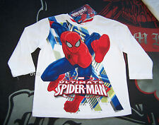 Marvel Spiderman Boys White Printed Long Sleeve T Shirt Size 4 New
