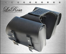LaRosa Black Leather Harley Sportster Throw Over Left & Right Saddlebag Set