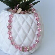 Ella Bracelet - Genuine Swarovski Crystals - Pink - Light Rose -Wedding - Bridal