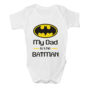 My Dad Is The Batman Baby Vest Grow Funny Bodysuit Top Size Boys Girls Gift New
