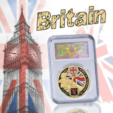 WR War II 1944 UK custom coin collection gold token coin with box Security frame