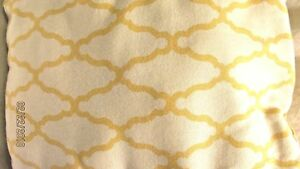 Square Yellow and White Room Accent Pillow