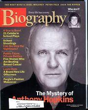 Biography Magazine October 2001 Anthony Hopkins EX w/ML 030817nonjhe