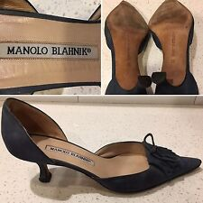 MANOLO BLAHNIK Blue Suede Womens Low Heel Sz 5.5 US (36)