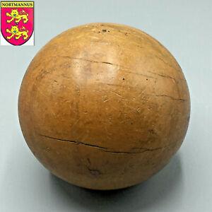 ANCIENNE Grosse Boule en Bois Jeu de Quilles Diamètre 115 mm