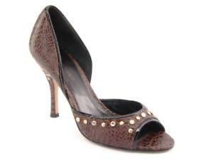 New ENZO ANGIOLINI Women Brown Leather Evening High Heel Dress Pump Shoe Sz 7 M
