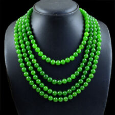 845.00 Cts Earth Mined 4 Strand Green Jade Round Shape Beads Necklace NK 01E95