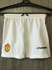 Manchester United White Training Football Soccer Shorts Retro Vintage Youth Sz L