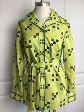 Vintage Alex Coleman women's green 70s Geo Print blouse with waist Tie M