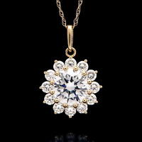 """2.00CT Created Diamond Halo Pendant 14k Yellow Gold 16"""" Rope Chain Necklace"""