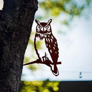 Garden Branch Owl Decoration Metal Tree Art Bird Animal Ornament Yard Iron Decor