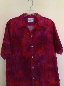 "Surfside Sportswear M 60s 70s RAD 42"" Chest Pink Red Vtg Waikiki Hawaiian Shirt"