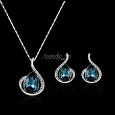Best Crystal Rhinestone Pendant Stainless Steel Earrings Necklace Jewelry Set