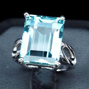Aqua Blue Aquamarine Ring Emerald 925 Sterling Silver White Gold Plate 01