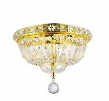 "4-Light Gold Finish D 10"" x H 8"" Empire Crystal Flush Mount Ceiling Light Round"
