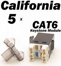 5 Pcs Lot Keystone 8P8C CAT6 RJ45 Network 110 Style Socket Punch Down Jack Black