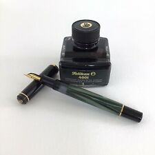PELIKAN PISTON FOUNTAIN PEN IN GREEN MARBLED FINISH W/ Inkwell