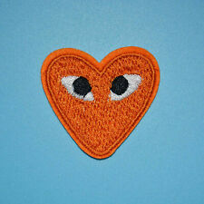 Orange CDG Heart Iron on Sewing On Patches Embroidered Badges