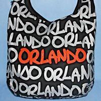Robin Ruth ORLANDO Orange Sparkle Black Silver Reflective Crossbody Purse Bag