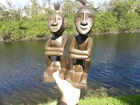 Beautiful  two African art sculpture  people figuri  home decor